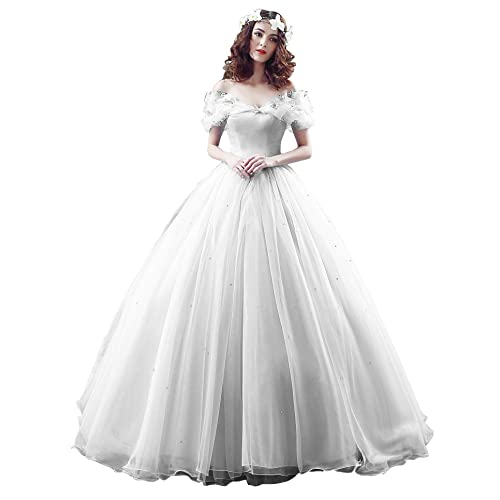 Yinyyinhs Womens Ball Gown Cinderellas Off The Shoulder Prom Gown Wedding Dresses Evening Gown