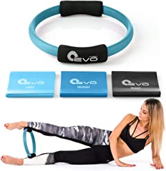 """Pilates Ring and 3 Resistance Bands Set Fitness Circle Yoga Ring 12"""""""