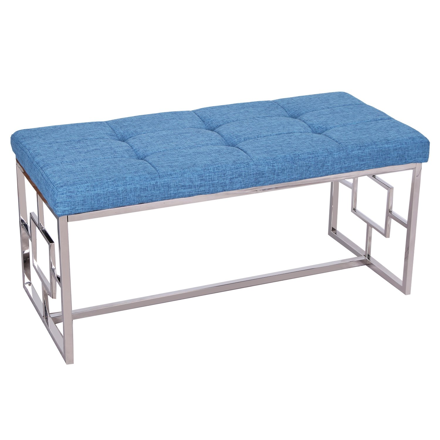 Adeco Stainless Steel Metal Bench Entryway Footstool with Button, Tufted Linen Fabric - Blue, Blue