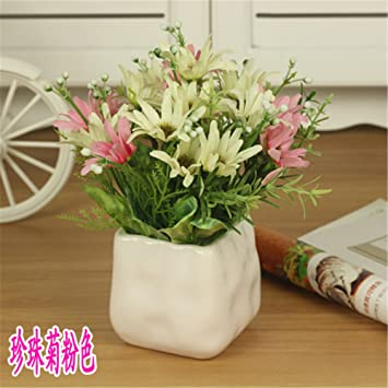 Amazon situmi artificial fake flowers ceramic vases small situmi artificial fake flowers ceramic vases small potted silk flower plastic home decordaisy mightylinksfo