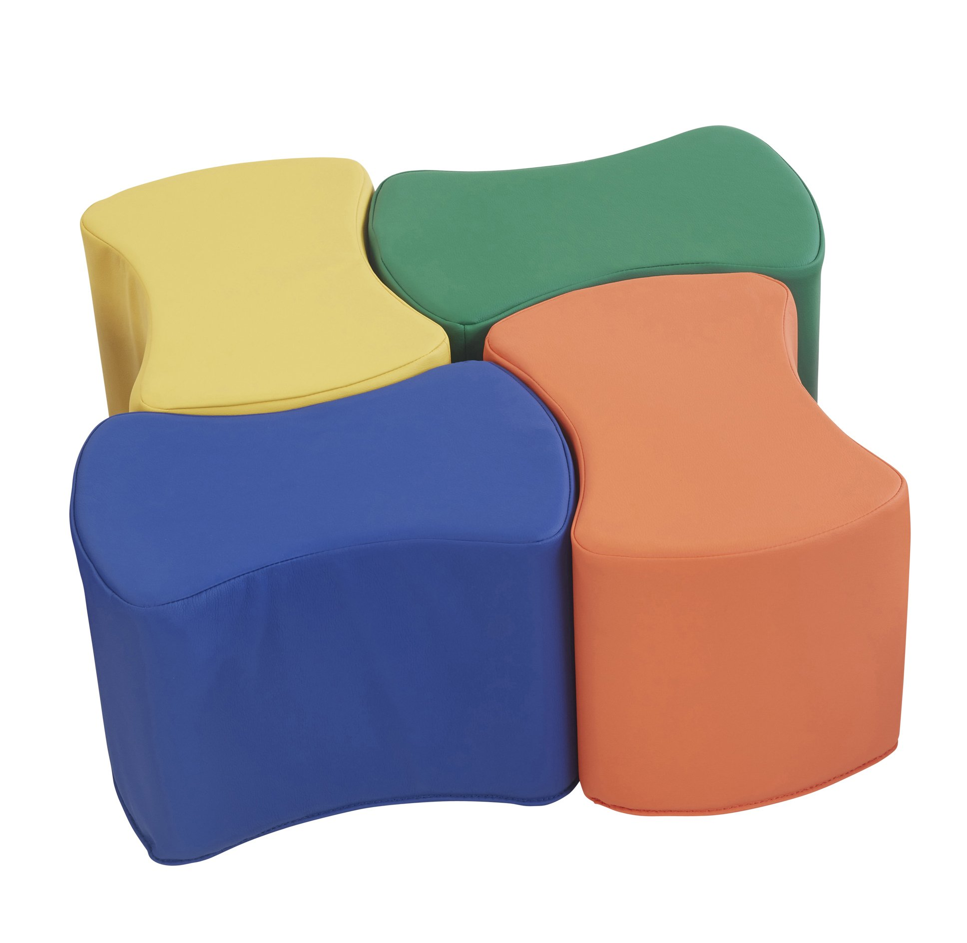 ECR4Kids SoftZone Butterfly Stool Modular Seating Set for Kids, Primary (4-Piece)