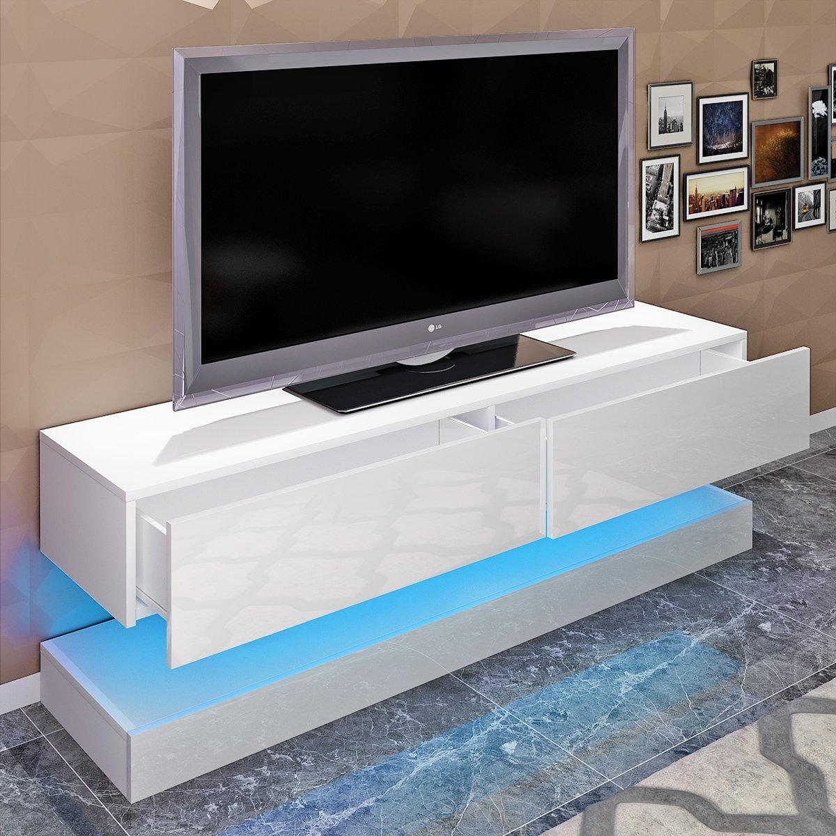 Soddyenergy Mobile per TV sospeso Moderno con LED per Soggiorno Bianco