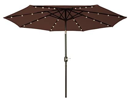 9u0027 LED Patio Umbrella Acrylic Fade Resistant Multi Year Fabric   Solar  Powered With