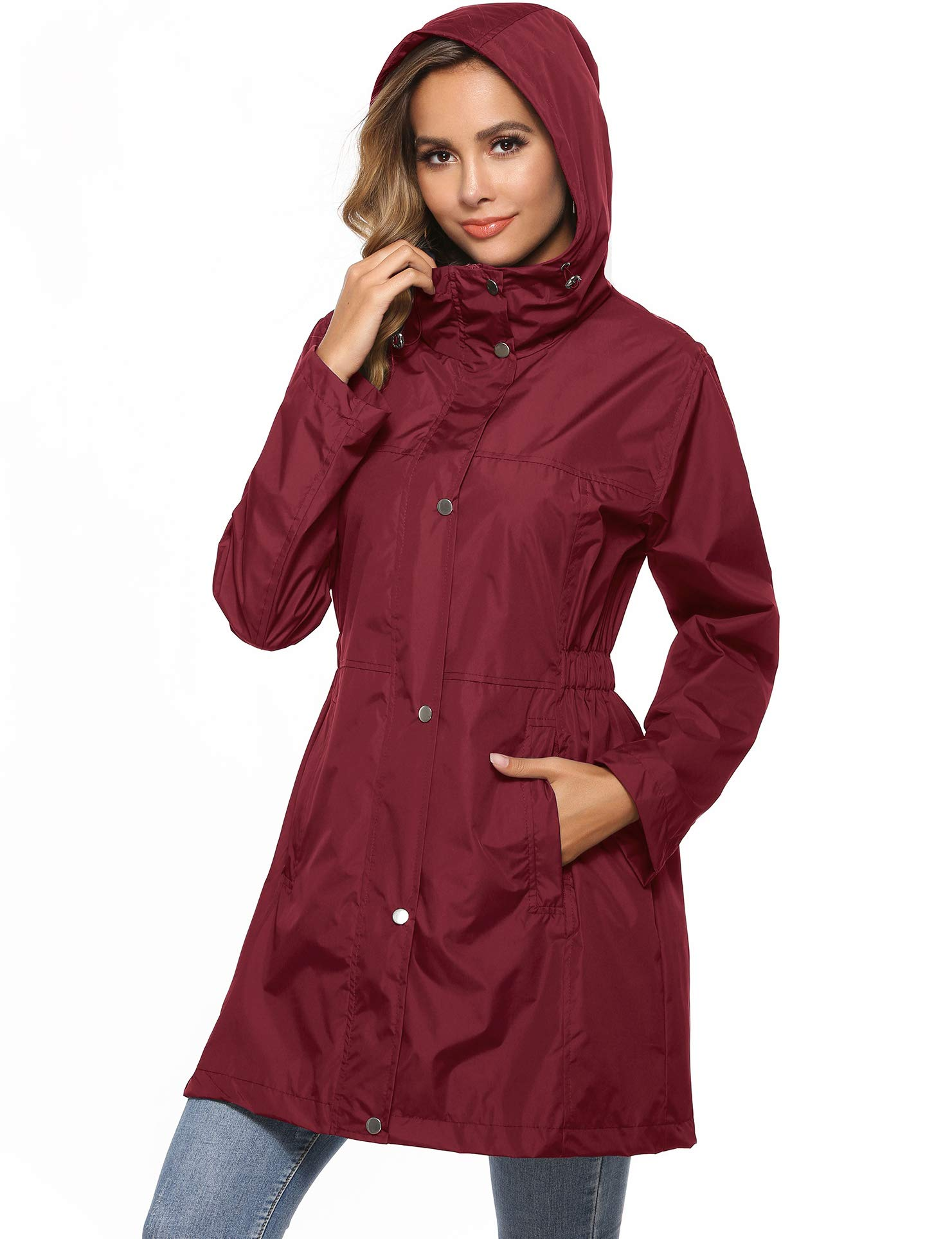 Women's Active Raincoat Windbreaker Classic Rain Jacket Hooded for Fall Winter Running Fishing Camping Wine Red L by Avoogue