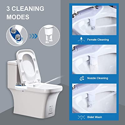 New Toilet Seat Attachment Adjustable Pressure Bidet Dual Nozzles Self Cleaning