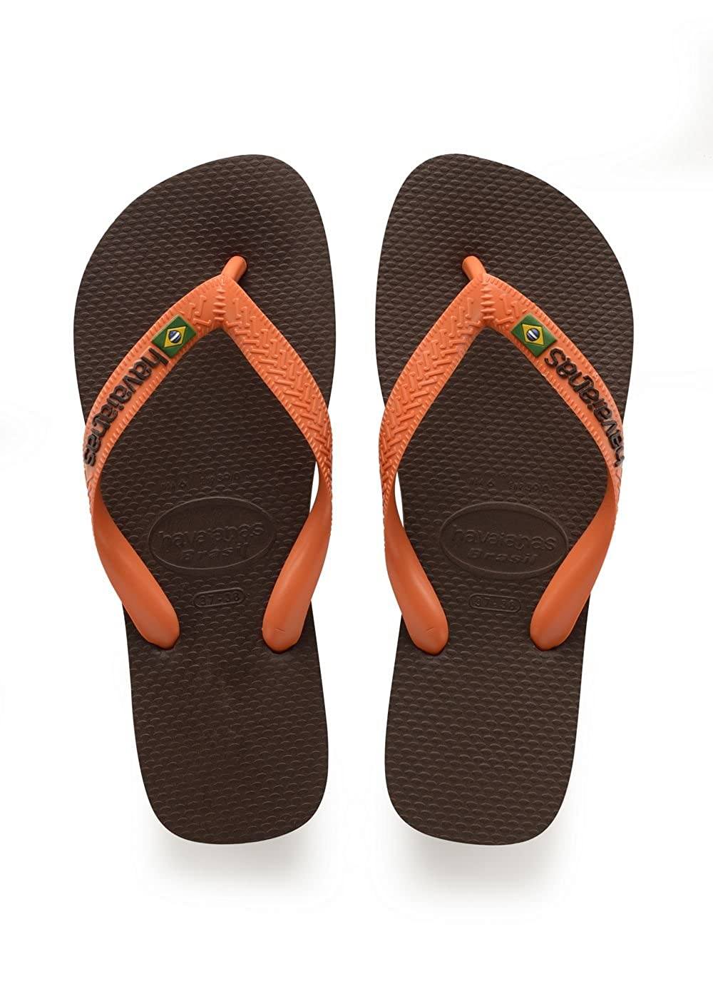Havaianas Brasil Logo, Chanclas Unisex Adulto, Marrón (Dark Brown/Orange), 37/38 EU
