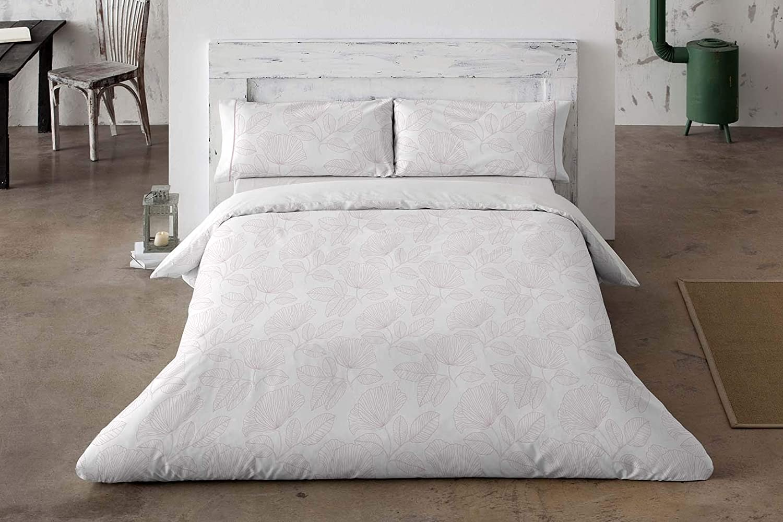 Burrito Blanco Juego de Funda Nórdica 310 de algodón 200 Hilos con un Diseño de Hojas en Perfil para Cama de Matrimonio de 160x190 hasta 160x200 cm, Color Nude