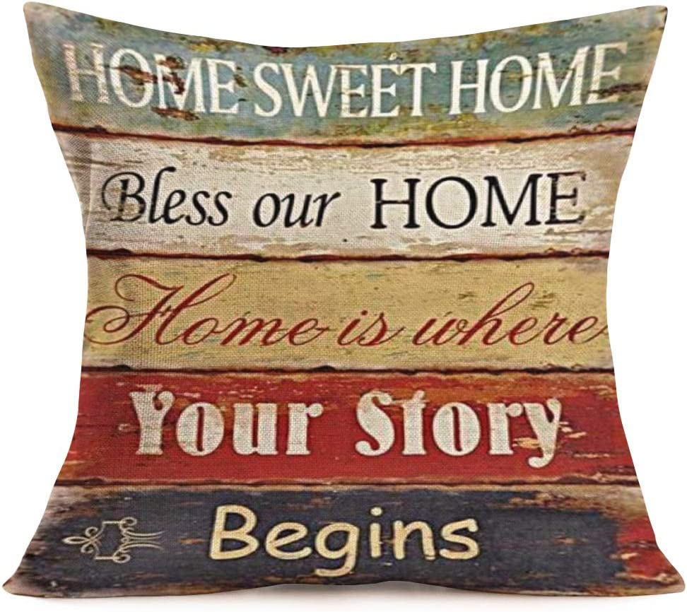 Royalours Home Sweet Home Warm Lettering with Retro Wood Grain Cotton Linen Throw Pillow Cover Cushion Case for Home Sofa Decorative Square Pillow Sham 18X18 inches (HsH-Begins)