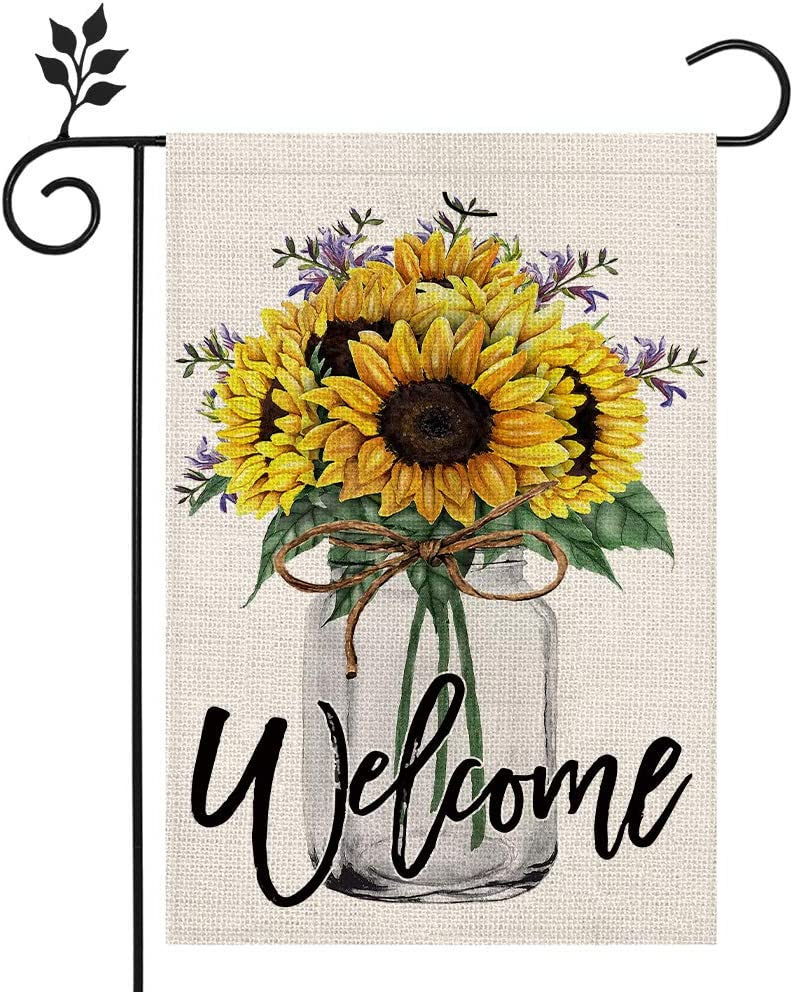 CROWNED BEAUTY Summer Welcome Garden Flag Sunflower Mason Jar 12×18 Inch Double Sided Vertical Yard Outdoor Decoration CF169-12