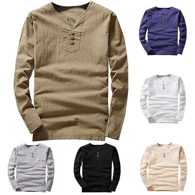 Resplend Camiseta de Verano con Mangas largas de algodón y Lino con Cuello en V y Manga Larga para Hombres: Amazon.es: Ropa y accesorios