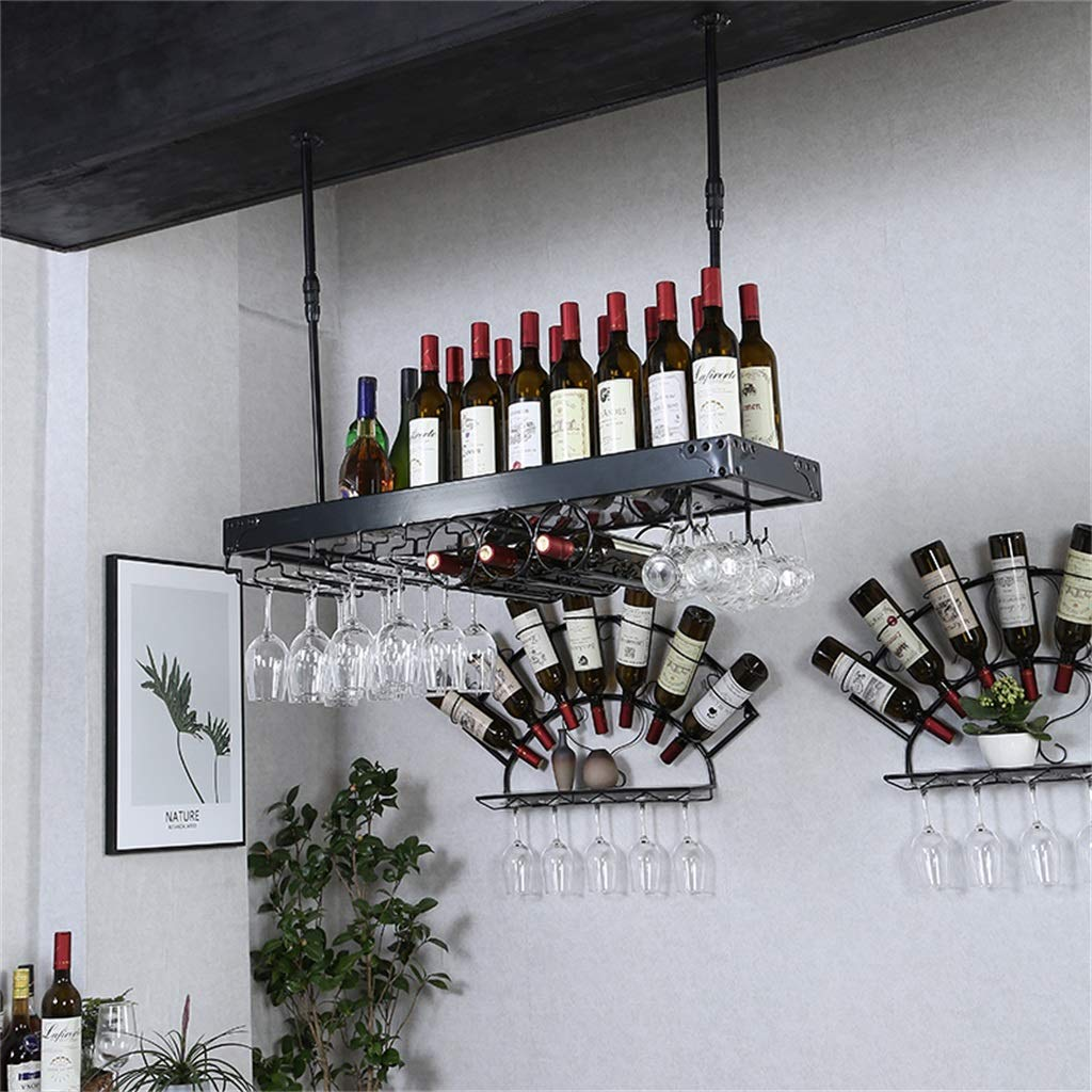2-イン1ワインラック - 壁掛け鉄ワイングラスとボトル収納ホルダー [高さ3060cm調整可能] - ブラックフレーム天井用脚付きラック B07RKWCL1B  120cm(47.2″)