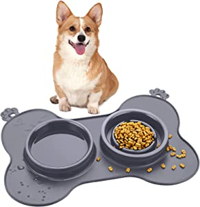 Double Pet Dog Slow Feeder Bowl Bloat Stop Pet Bowl Anti-Choking Puppy Food and Water Feeder with Non-Skid Silicone Mat Plastic Water Bowl for Dogs Cats Pets (Grey)