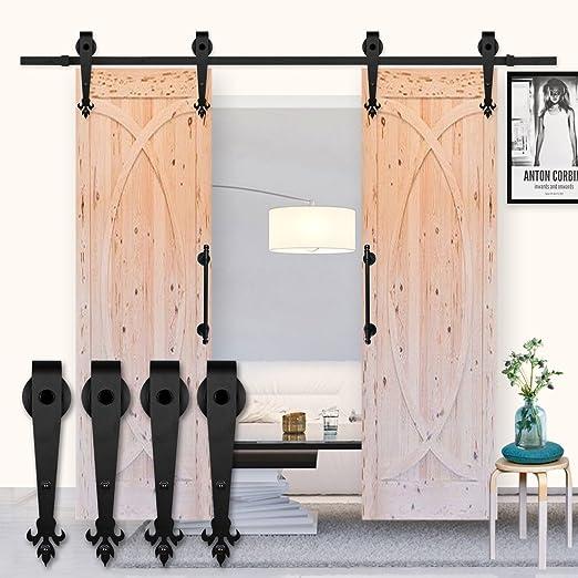 Kirin hardware 6 ft Industrial puerta corrediza de madera granero Hardware Soporte de pista doble puertas Set kit: Amazon.es: Bricolaje y herramientas