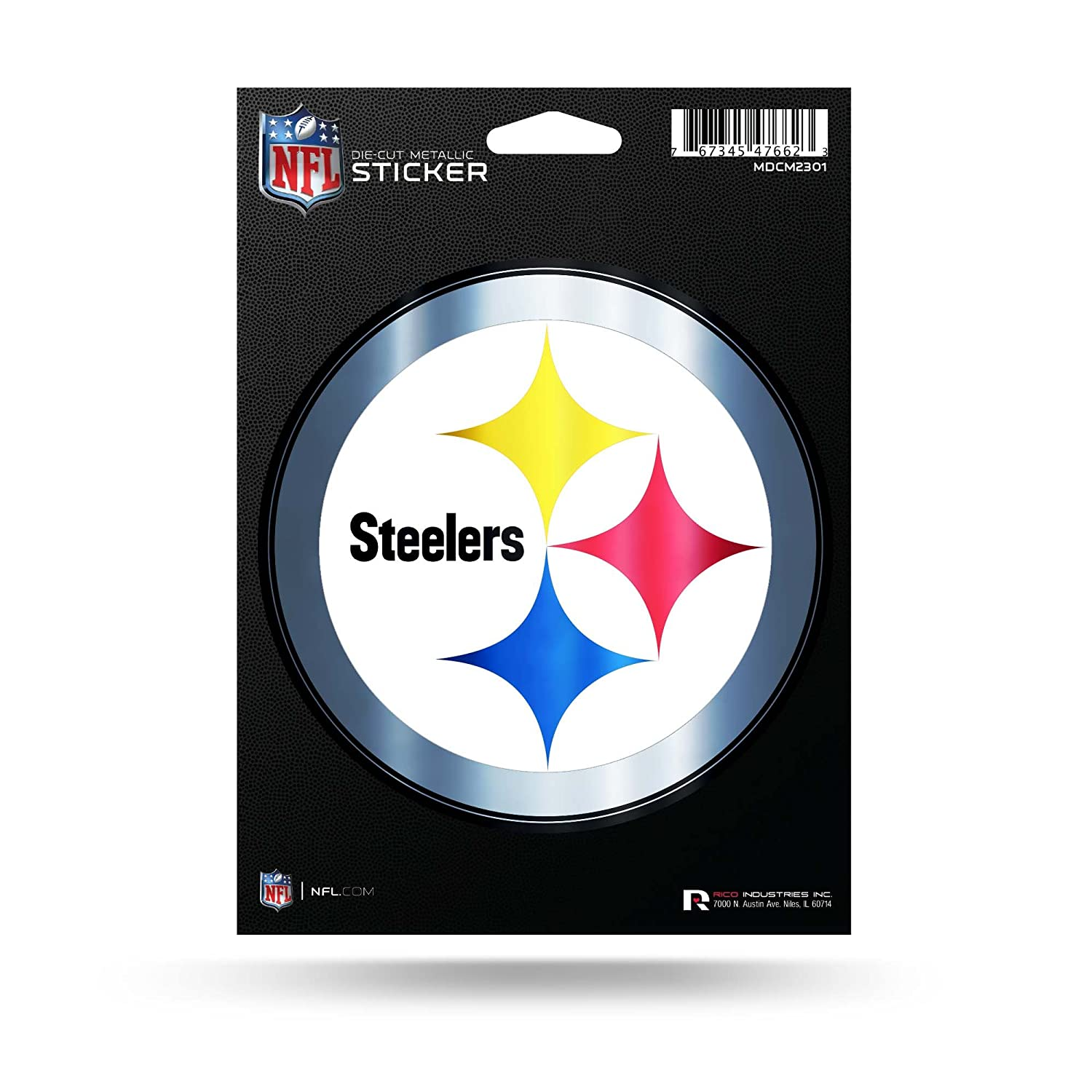 Rico Industries Inc. Pittsburgh Steelers Rico 5 METALLIC DECAL Die Cut Auto Sticker Emblem Football