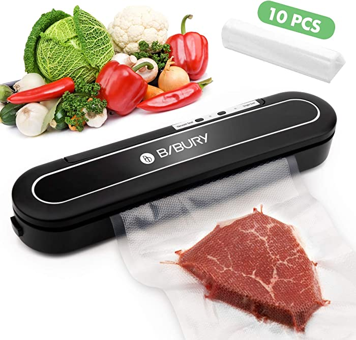 Mini Vacuum Sealer Machine, BIBURY Automatic Compact Design Food Sealer Machine for Food Savers W/Starter Kit,Dry & Moist Food Modes,Led Indicator Light,10 Pcs Vacuum Bags for Food Preservation( Not Suitable For Roll Bag)