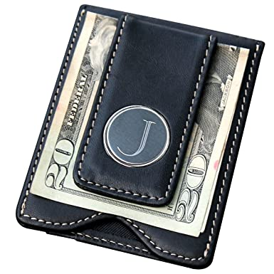 custom personalized black leather money clip credit card holder wallet combo groomsmen fathers day gift - Personalized Card Holder