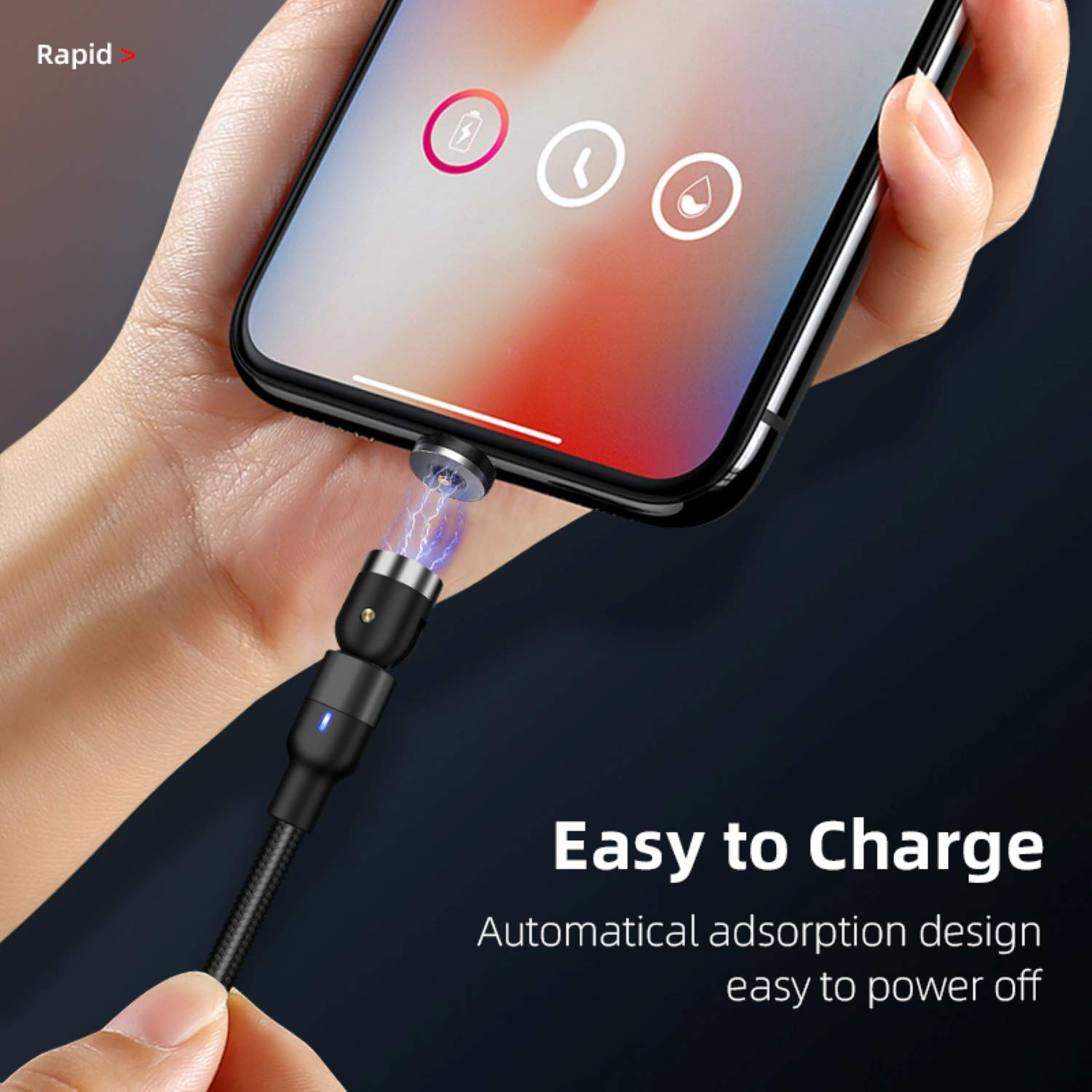 iPhone//Pads Type-C 3PKS Compatible with Micro USB 3.3 ft x 2 + 6.6 ft x 1 Magnetic Charging Cable 360/° /& 180/° Rotation 3 in 1 Magnetic Phone USB Charger Cable iOS Android Smartphone//Tablet
