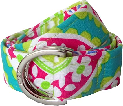 No27 Girls Colorful Flower Power D-Ring Fabric Belt