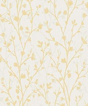 Fine Decor Florence Plain Jaune Papier Peint FD42582-Texture Vinyle Tissu Effet
