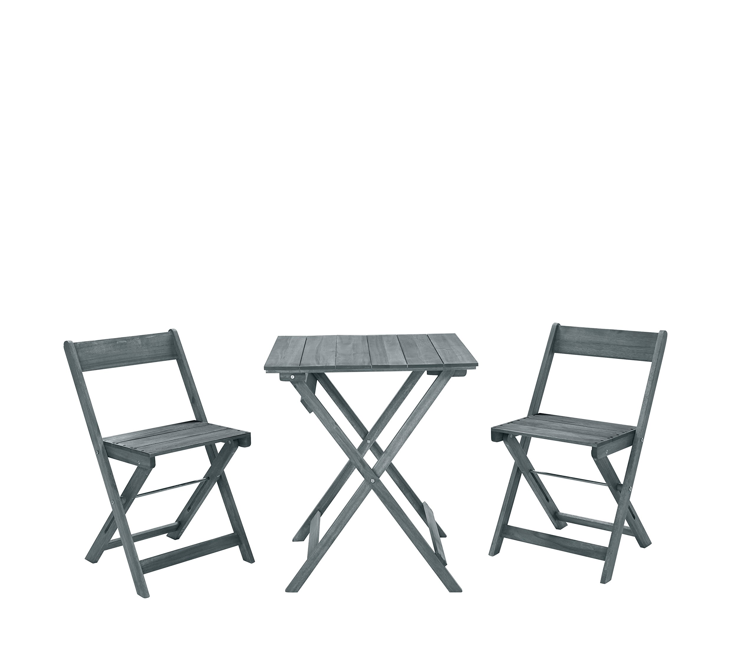 Linon 3-Pc Rockport Square Table Set in Gray
