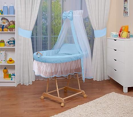 WALDIN Cuna Moisés, carretilla portabebés XXL, 9 colores a elegir, azul/blanco