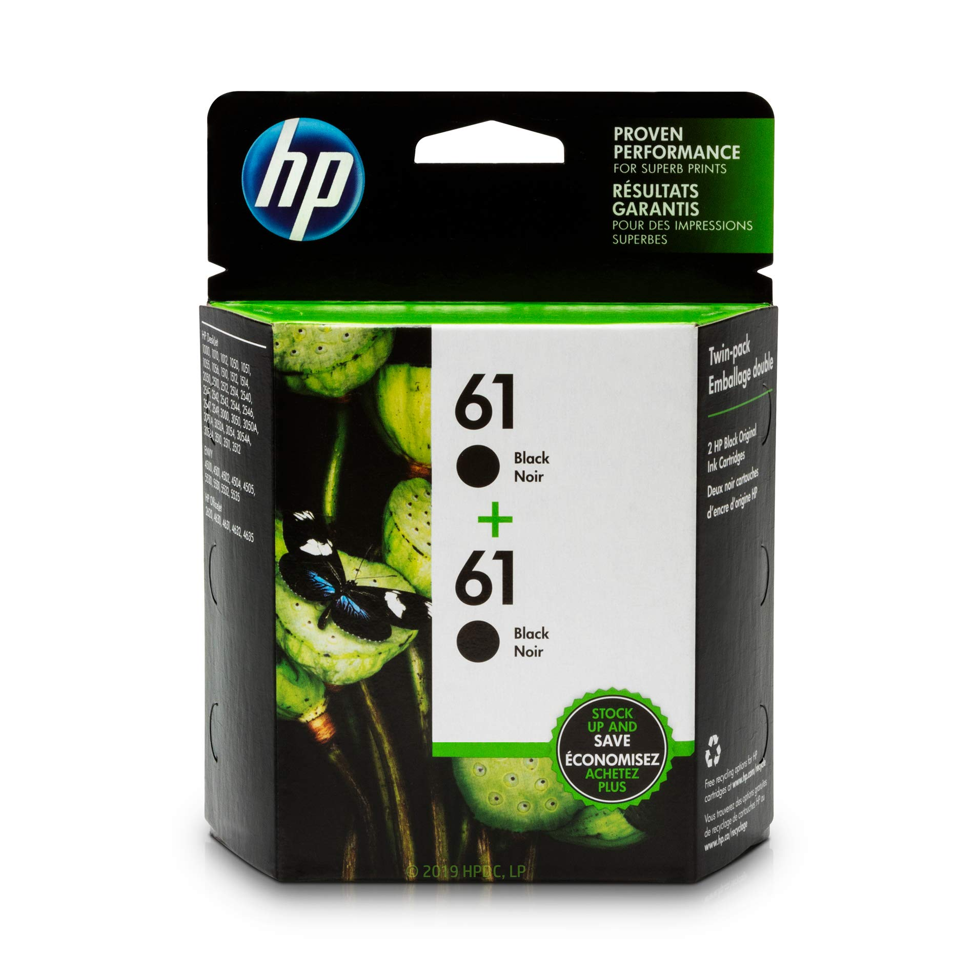 HP 61 Black Ink Cartridge (CH561WN), 2 Ink Cartridges (CZ073FN) for HP Deskjet 1000 1010 1012 1050 1051 1055 1056 1510 1512 1514 1051 2050 2510 2512 2514 2540 2541