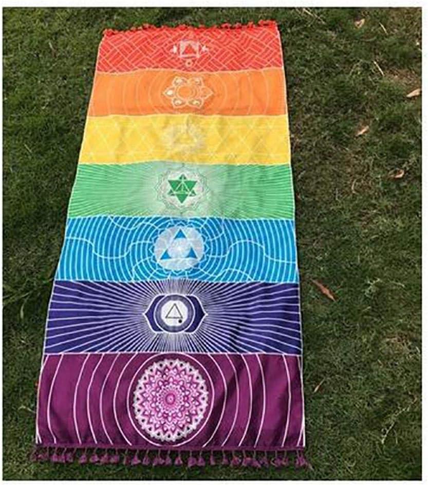 PiniceCore 1pcs Glands Unique Chakra Arc-en-Tapestry Serviette Mandala Yoga Boho Stripes Voyage Tapestry Mat