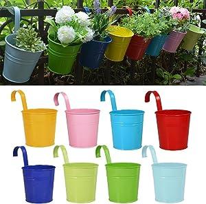 RIOGOO Flower Pots Hanging Flower Pots, Garden Pots Balcony Planters Metal Bucket Flower Holders - Detachable Hook (8 PCS) (Small)