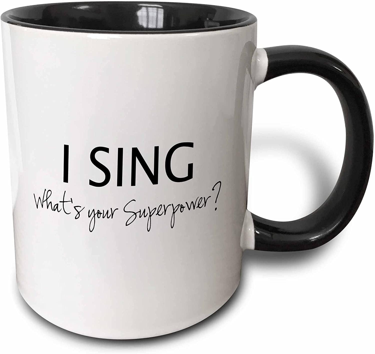 3dRose Superpower-Funny Singing Love Gift For Singers Two Tone Mug, 11 oz, Black