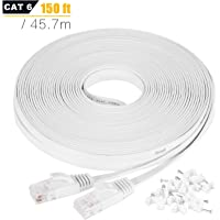 Ethernet Cable, 45M / 150ft Cat6 White Flat Network Internet Cord with Cable Clips - Ikerall RJ45 Connector High Speed…