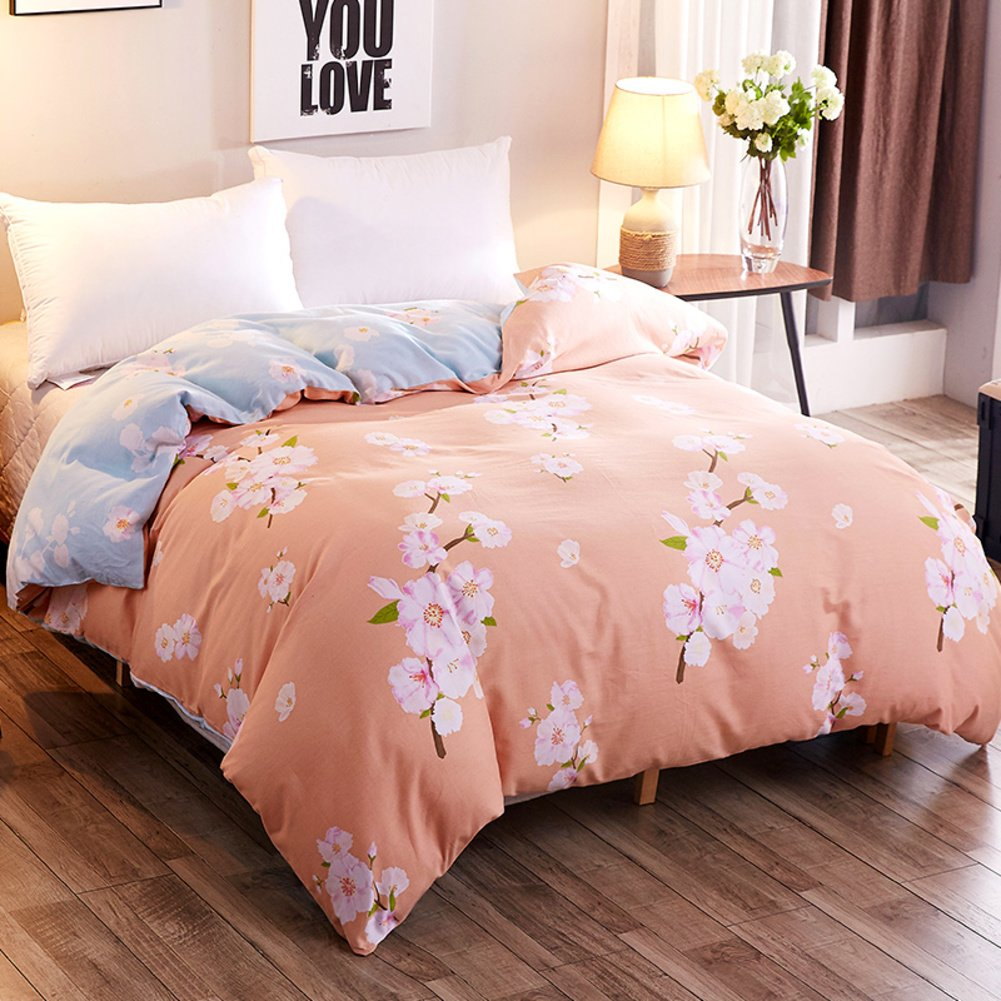 LJ&XJ Reversible thickened duvet cover,Supple elegant quilt cover single double student dormitory cotton comfy king&queen fade-resistant-Q 200x230cm(79x91inch)