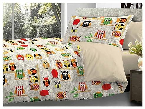 Gufi Bettwäsche Set Für Französische Betten Mit Eulenmotiv, 200 X 200 Cm