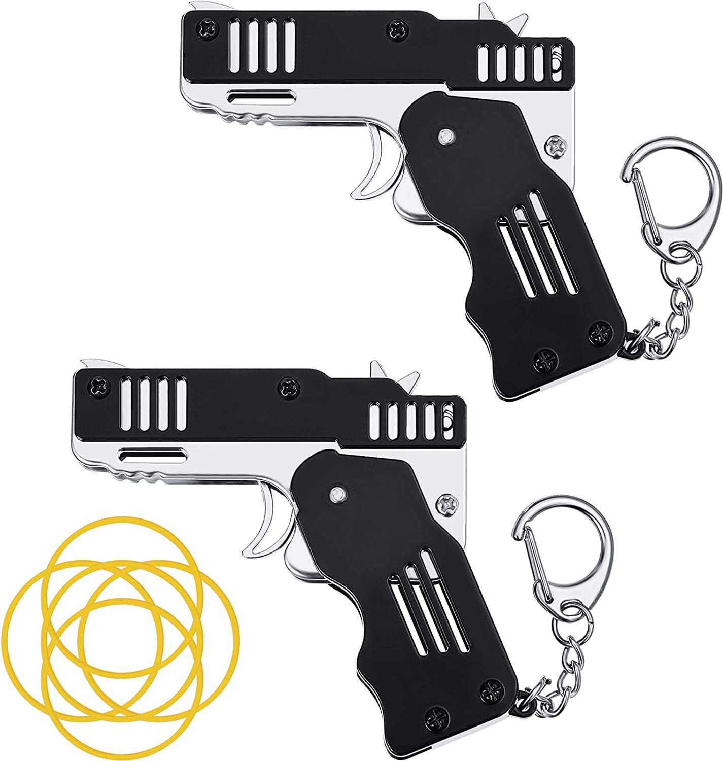 Mini Foldable Rubber Band Gun Keyring