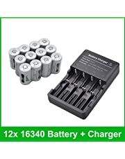 12-Pack 16340 CR123A 3.7V Rechargeable Li-ion LED Torch Battery + 4-Channel Charger