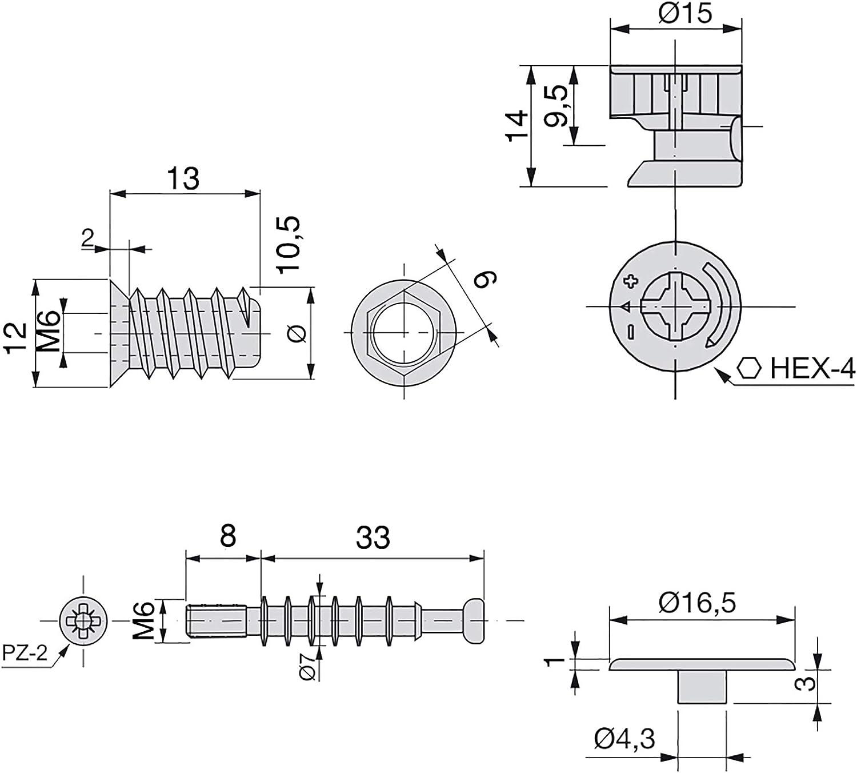 Kit de exc/éntricas T15 Emuca con pernos y tuercas M 6mm para tablero 19mm