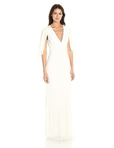 ABS Allen Schwartz Women's Matte Jersey Gown W/Capelet Sleeves
