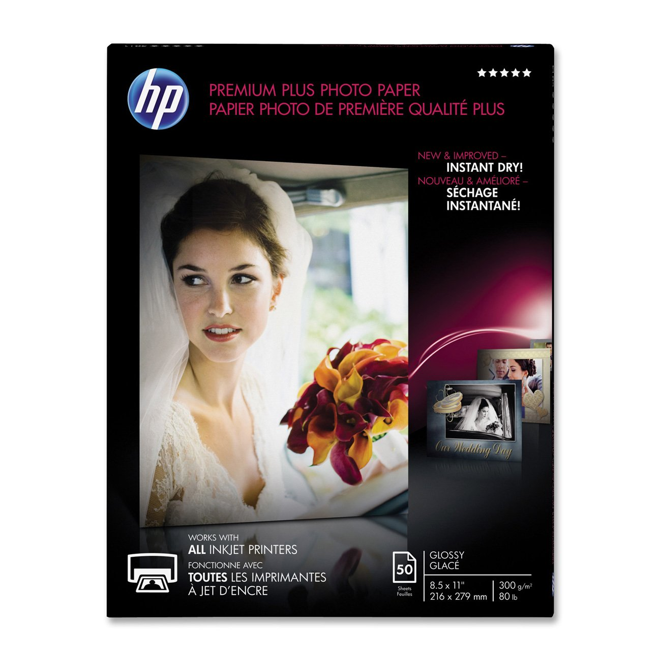 HP Premier Plus Photo Paper -For Inkjet Print -Letter -8.50x11 -300 g/m -Glossy -1/Pack -White Hp - Hp Paper CR664A Office Supplies