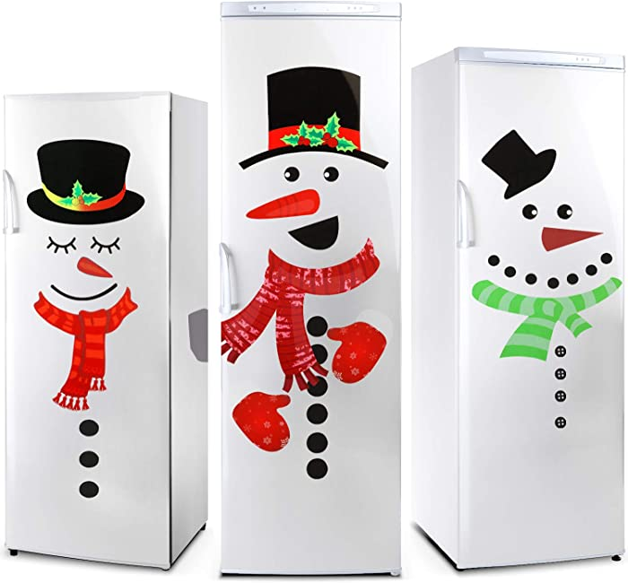2 Sheets Christmas Snowman Refrigerator Sticker Set Cute Snowman Fridge Stickers Decoration for Fridge Wall Door Party Supplies Home Decoration