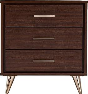 Southern Enterprises Oren Bedside Table w/Drawers Nightstand, Brown