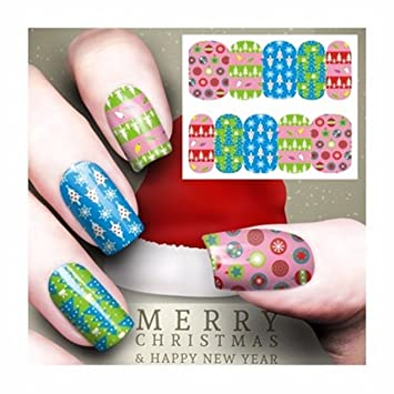 Amazon 1 Set Christmas Nail Art Stickers Water Transfer Nails