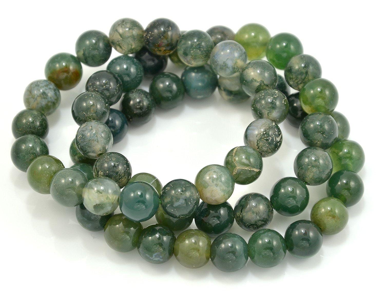 Set of 3 Moss Agate Gemstone Elastic Bead Bracelet JAYP U8JB10245GY10917