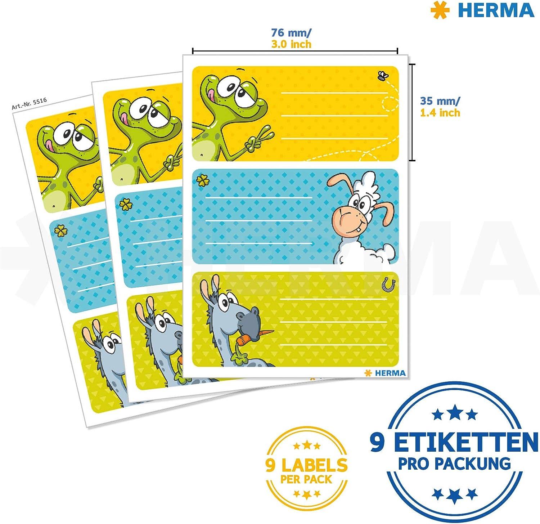 6/X 3 formato 7 HERMA 5512/Etichette Nome Quaderno per la scuola motivo 5/cm Contenuto della confezione: 9/Etichette personaggi umoristici