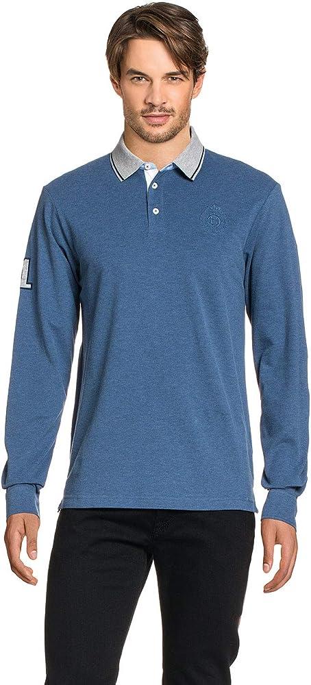 HACKETT LONDON GOLF Marl Woven Trim Polo Shirt Blue Men, tamaño:M ...