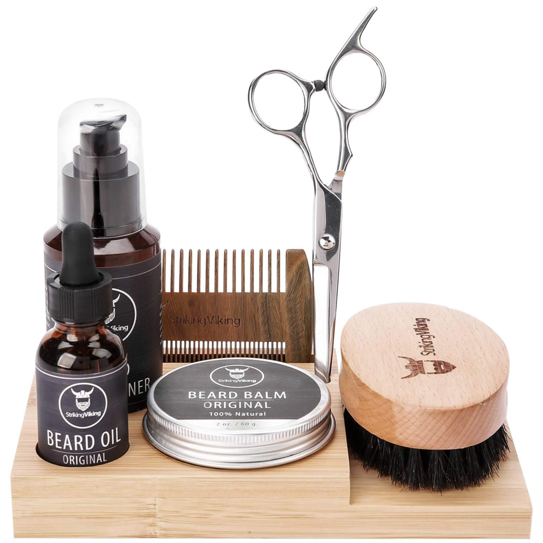 Amazon Com Striking Viking Beard Care Caddy Men S Bathroom Organizer Beard Holder For Vanity Top Neatly Stores Your Beard Oil Balm Wash Comb Brush Scissors Bamboo Caddy Only Beauty