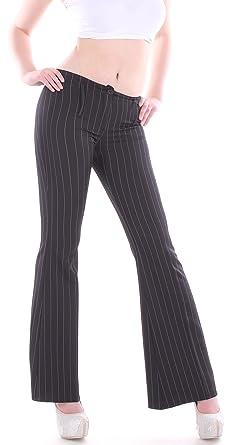 c334f4454a574b Damen Hose Buisness Schlaghose Bootcut Hüfthosen Nadelstreifen Damenhosen  in schwarz: Amazon.de: Bekleidung