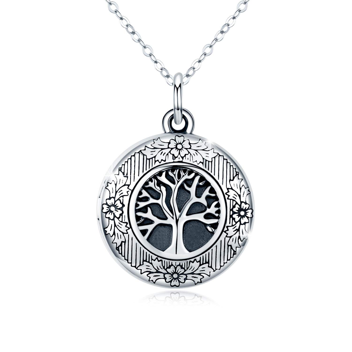 Tree of Life Locket Necklace, Locket Necklace That Holds Pictures S925 Sterling Silver Vintage Oxidized Tree of Life photo Pendant Family Gifts for Women Teen (White) by CUOKA MIRACLE