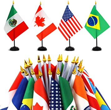 Anley Juego de Banderas de Escritorio 24 países 7,5 x 5,5 Pulgadas Bandera de Escritorio Estadounidense en Miniatura con Poste Negro de 12,5