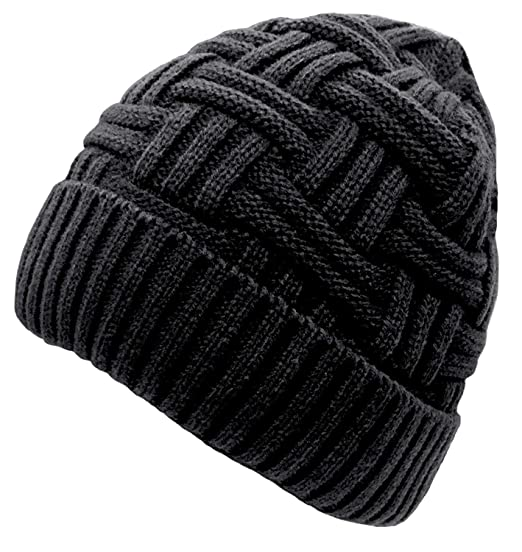 Chalier Mens Winter Warm Knitting Hats Wool Baggy Slouchy Beanie Hat Skull  Cap Black  Amazon.co.uk  Clothing 660bc83b2eee