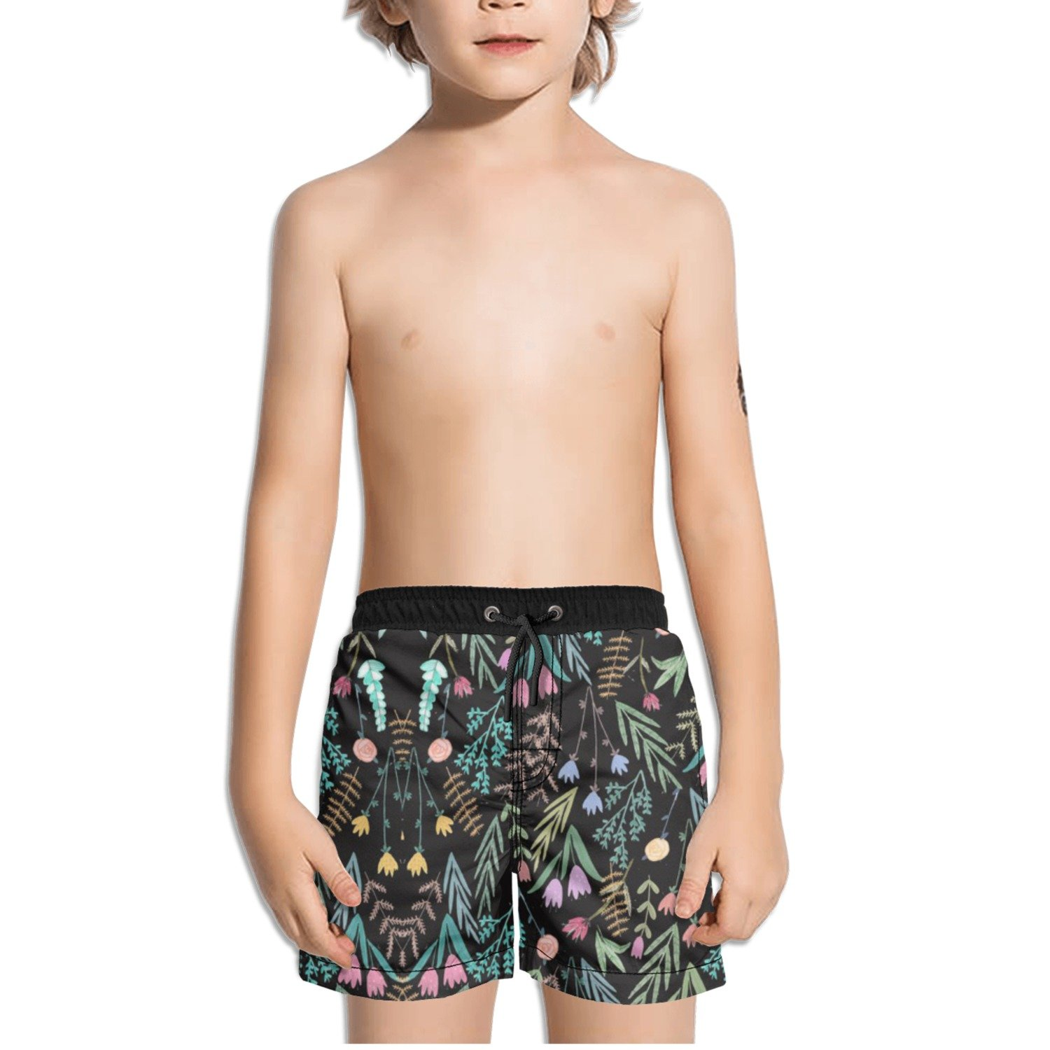 Ouxioaz Boys Swim Trunk Colorful Flowers Painting Beach Board Shorts