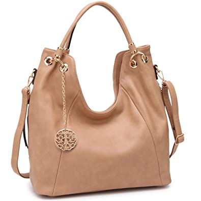 ea51fe4f5ca8 Amazon.com  Shoulder Hobo Bag Top Zip Purse Fashion Vegan Handbag w Long  Strap Side Zipper Pockets Beige  Shoes